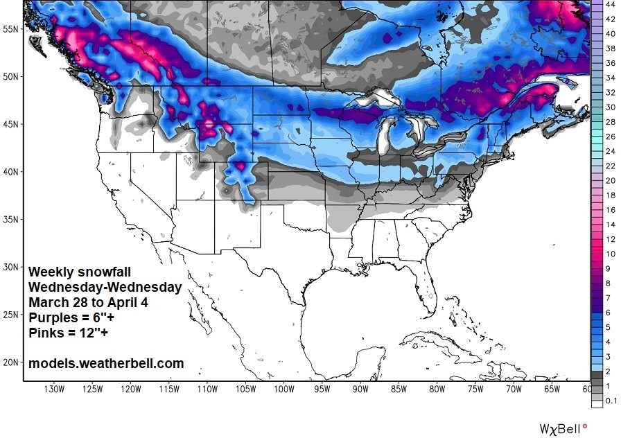 Weekly snowfall through Wednesday. (Weatherbell)