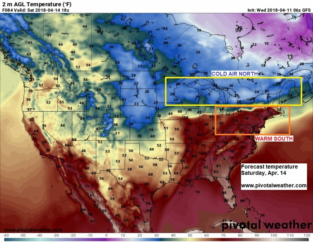 Stark temperature difference this weekend! (Pivotal Weather)