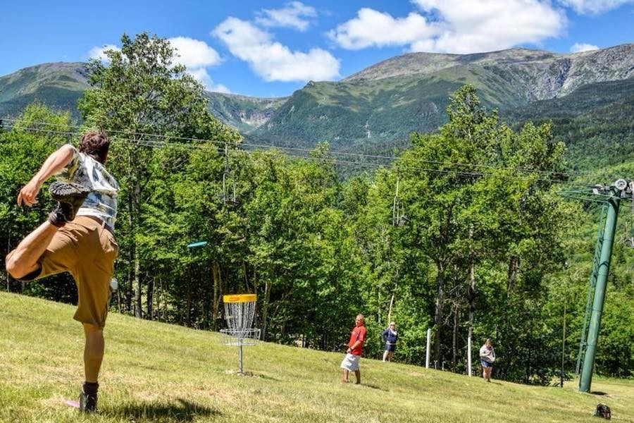 The Presidential Mountain views aren't a bad backdrop to disc golf at Wildcat. (Wildcat)
