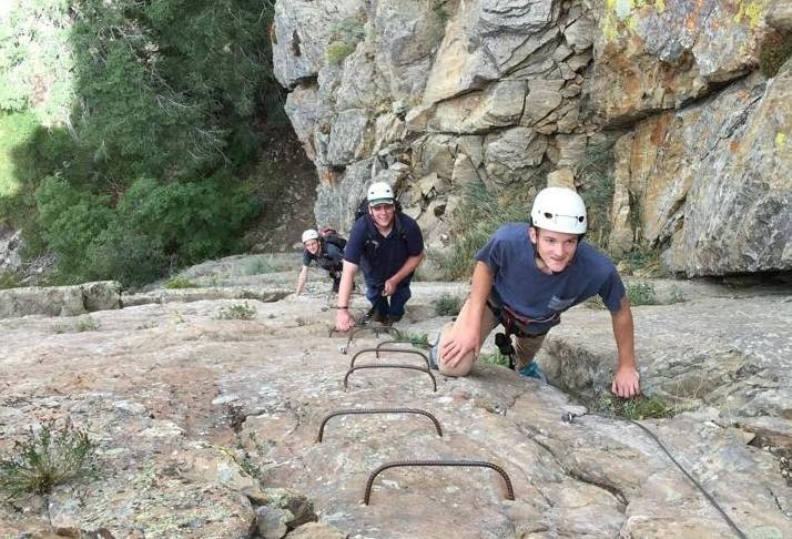 Climbers use iron steps up Mount Ogden. (Mount Ogden Via Ferrata/Facebook)