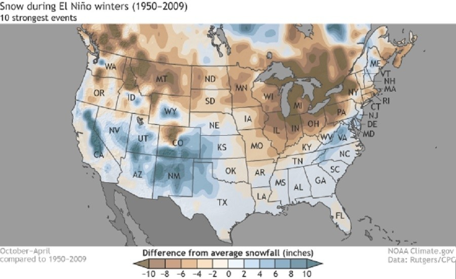 Previous 10 strongest El Nino events. Blue = snowier, brown = drier.  (NOAA)