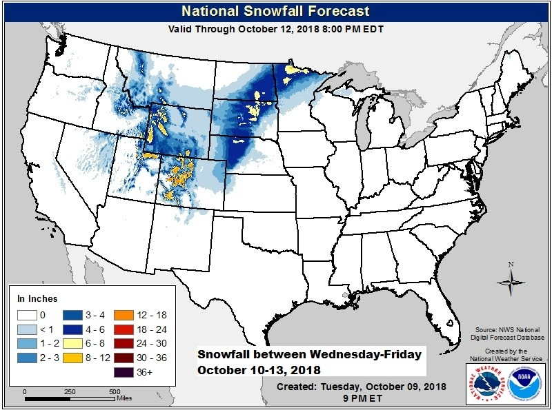 Snowfall forecast into the weekend. (NOAA/NWS)