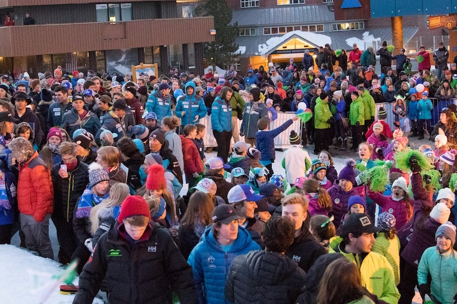 Passionate fans fill the Sugarloaf base area to see the nation's fastest skiers. (U.S. Ski & Snowboard/Reese Brown)