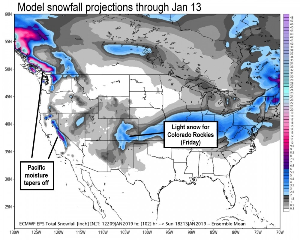 Light additional snow over the western peaks into the weekend. (Weatherbell.com)
