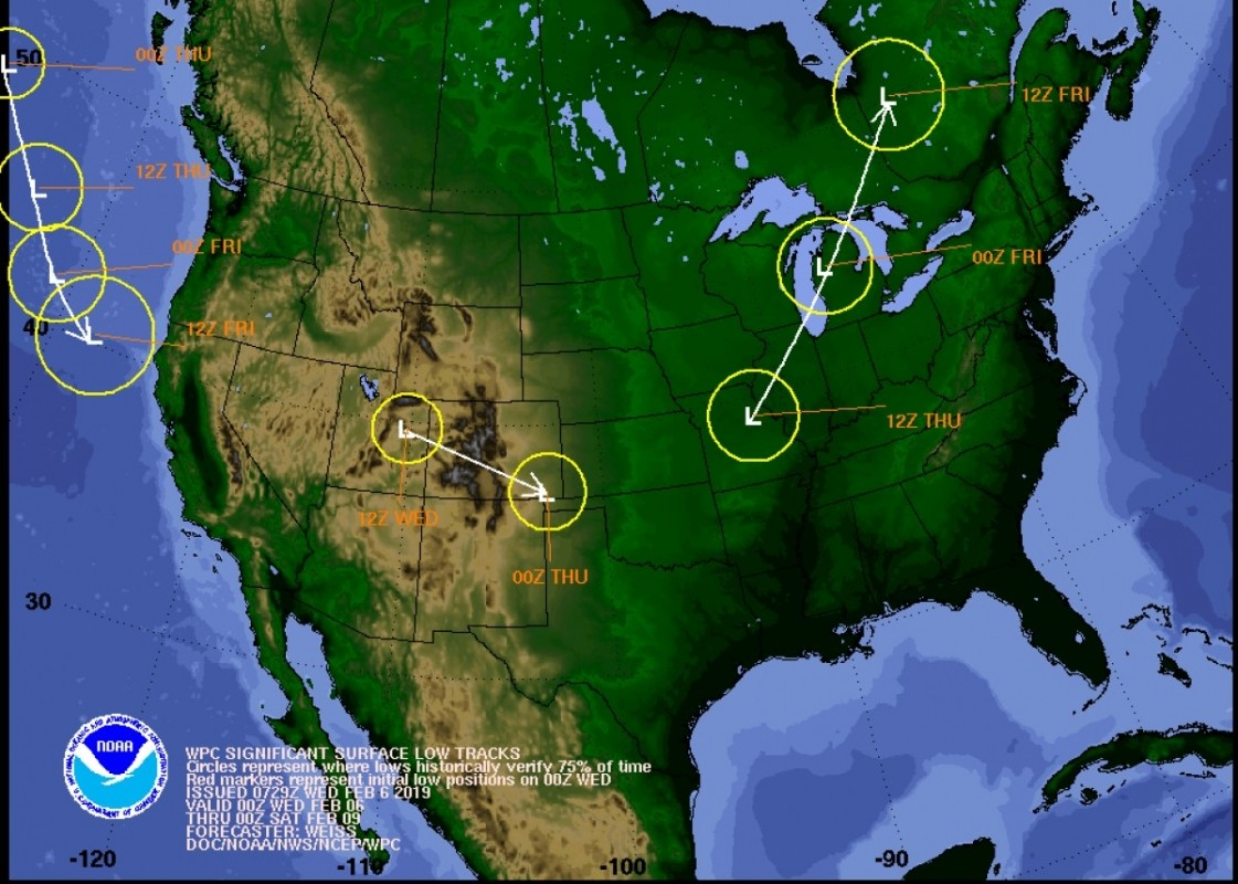 The storm tracks to watch the end of this week. (NOAA)