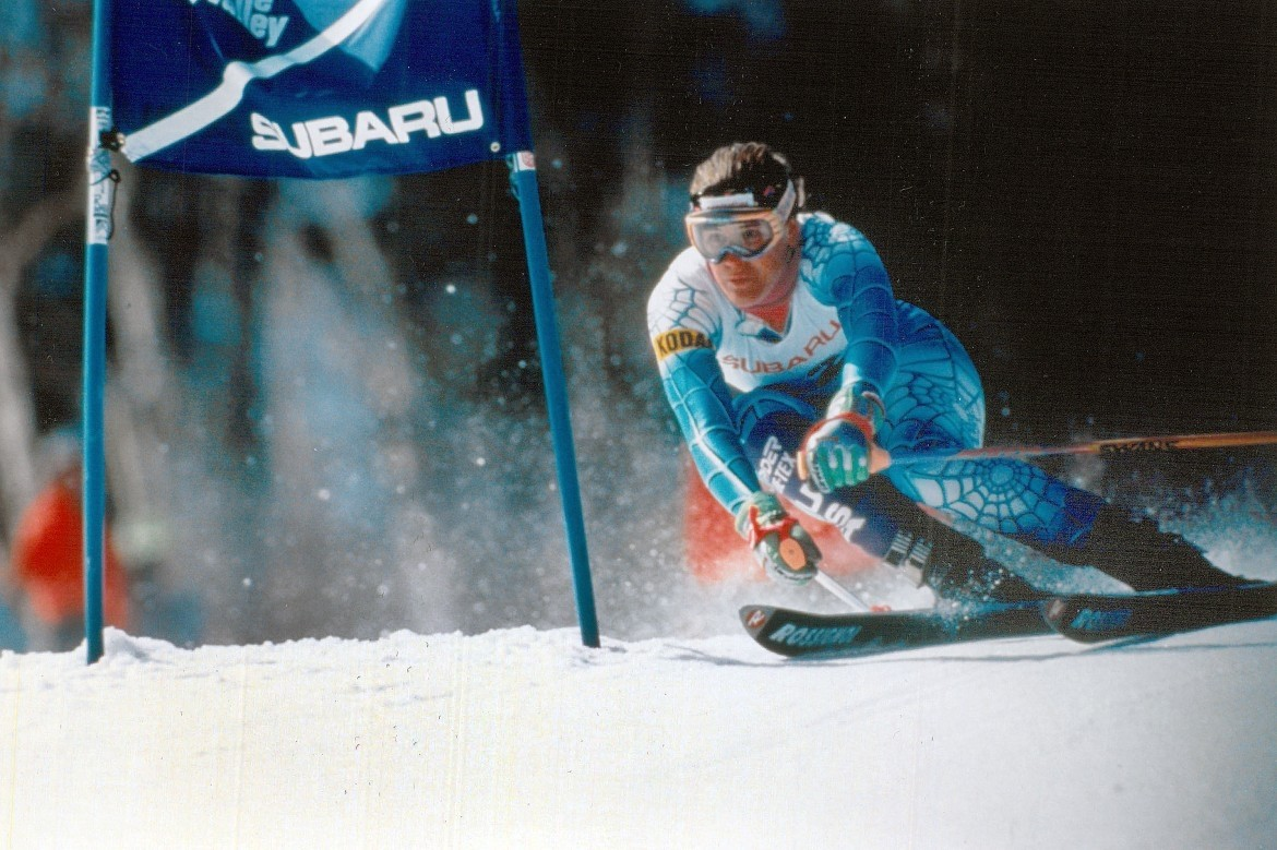 Julie Parisien competes in the World Cup giant slalom at Waterville Valley in 1991. (U.S. Ski and Snowboard)