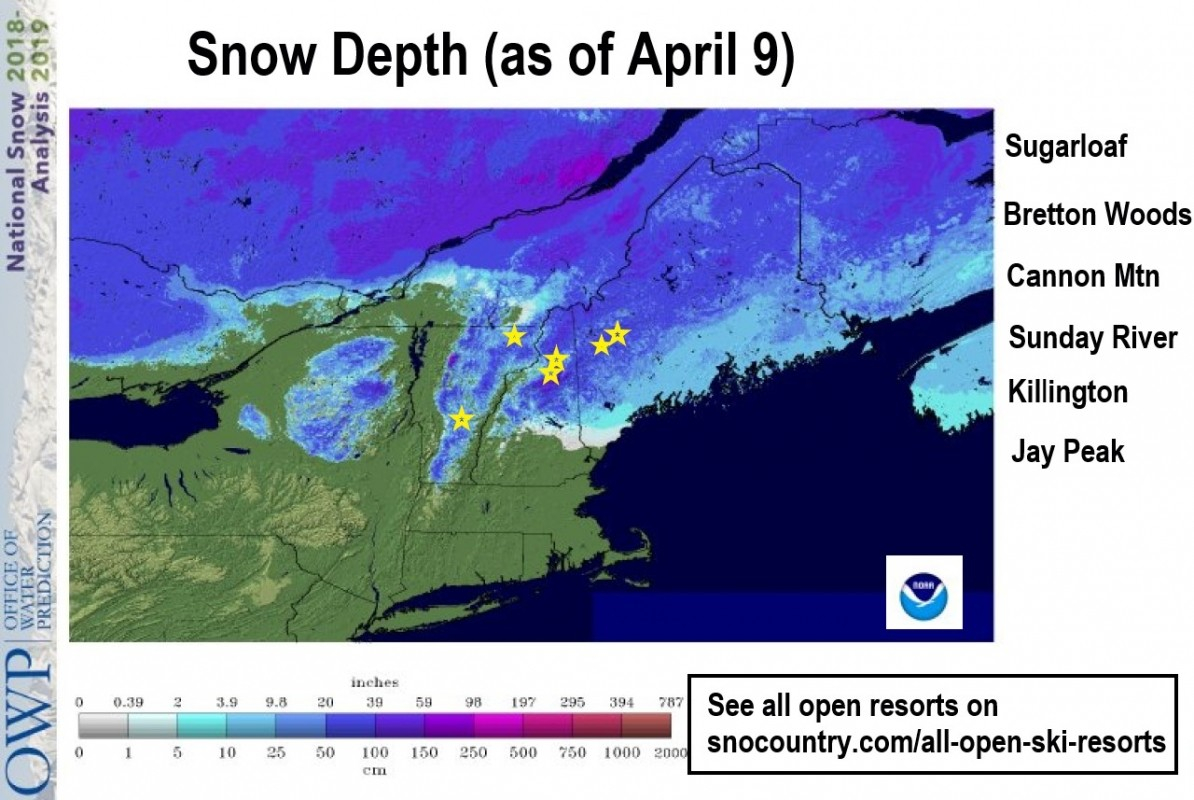 Still plenty of snow on the ground and open resorts around the Northeast. Be sure to visit all open resorts on SnoCountry.com to plan a great weekend! (NOAA)