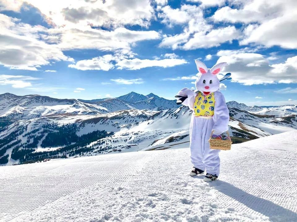 If there's an Easter bunny skiing or riding on your mountain, that's a sure sign that the season has moved from winter to spring, and we all have permission to go a little nuts. (Loveland/Facebook)