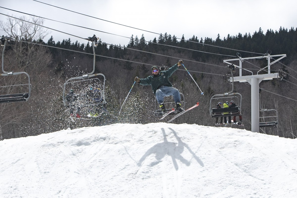 Donny Pelletier joined Sunday River for closing day, April 28. Played by Olympic mogul skier, Troy Murphy, Donny is a hammed up version of your classic Mainer (who lays tarmac on Route 2) and his charm is that he's a terrible skier who thinks he's absolutely sending it. (Sunday River)