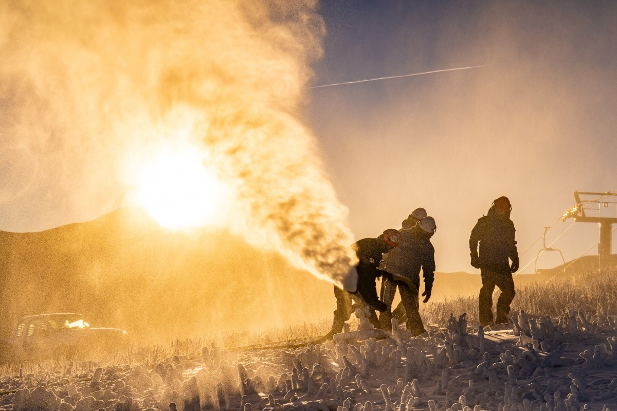 Early season snowmaking at Copper Mountain in Colorado.